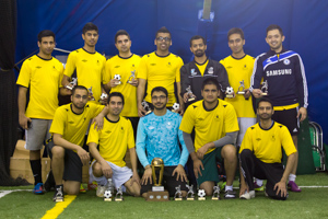 Playoff Champions Manama FC celebrate their 3-0 playoff final win over League Champions Mozambique Stars.