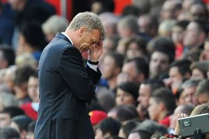 Manchester United manager David Moyes shows his dejection after Southampton equalise.