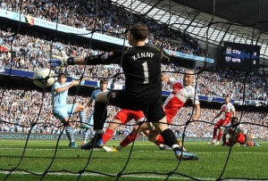 Sergio Aguero's injury time goal that snatched the title away from Manchester United and won the Premier League for Manchester City.